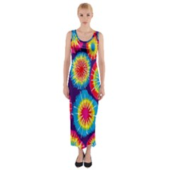 Tie Dye Circle Round Color Rainbow Red Purple Yellow Blue Pink Orange Fitted Maxi Dress