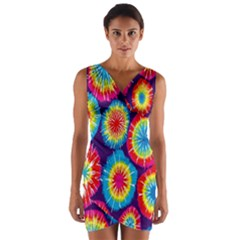 Tie Dye Circle Round Color Rainbow Red Purple Yellow Blue Pink Orange Wrap Front Bodycon Dress