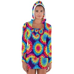 Tie Dye Circle Round Color Rainbow Red Purple Yellow Blue Pink Orange Women s Long Sleeve Hooded T Shirt