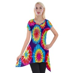 Tie Dye Circle Round Color Rainbow Red Purple Yellow Blue Pink Orange Short Sleeve Side Drop Tunic
