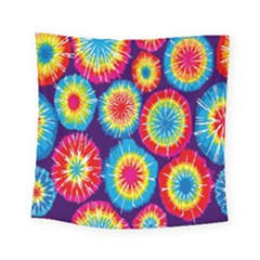Tie Dye Circle Round Color Rainbow Red Purple Yellow Blue Pink Orange Square Tapestry (small)