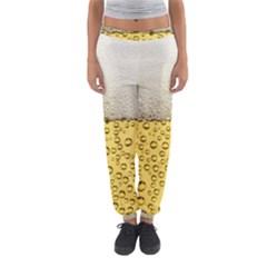Water Bubbel Foam Yellow White Drink Women s Jogger Sweatpants