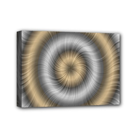 Prismatic Waves Gold Silver Mini Canvas 7  X 5