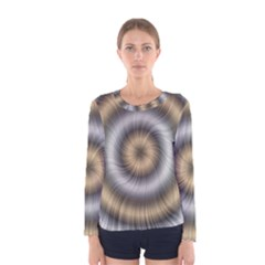 Prismatic Waves Gold Silver Women s Long Sleeve Tee