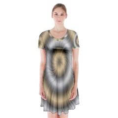 Prismatic Waves Gold Silver Short Sleeve V Neck Flare Dress
