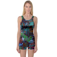Dark Watercolor On Partial Image Of San Francisco City Mural Usa One Piece Boyleg Swimsuit