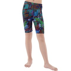 Dark Watercolor On Partial Image Of San Francisco City Mural Usa Kids  Mid Length Swim Shorts