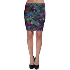 Dark Watercolor On Partial Image Of San Francisco City Mural Usa Bodycon Skirt
