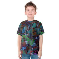 Dark Watercolor On Partial Image Of San Francisco City Mural Usa Kids  Cotton Tee