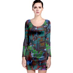Dark Watercolor On Partial Image Of San Francisco City Mural Usa Long Sleeve Bodycon Dress