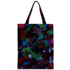 Dark Watercolor On Partial Image Of San Francisco City Mural Usa Zipper Classic Tote Bag