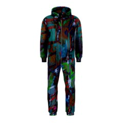 Dark Watercolor On Partial Image Of San Francisco City Mural Usa Hooded Jumpsuit (Kids)