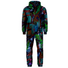 Dark Watercolor On Partial Image Of San Francisco City Mural Usa Hooded Jumpsuit (Men)