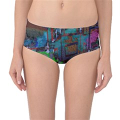 Dark Watercolor On Partial Image Of San Francisco City Mural Usa Mid Waist Bikini Bottoms