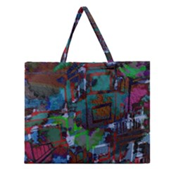 Dark Watercolor On Partial Image Of San Francisco City Mural Usa Zipper Large Tote Bag