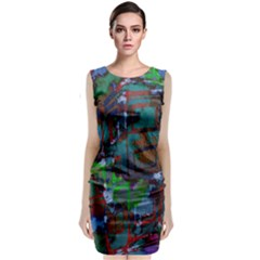 Dark Watercolor On Partial Image Of San Francisco City Mural Usa Classic Sleeveless Midi Dress