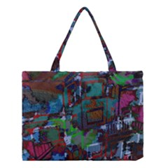 Dark Watercolor On Partial Image Of San Francisco City Mural Usa Medium Tote Bag