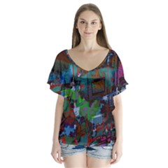 Dark Watercolor On Partial Image Of San Francisco City Mural Usa Flutter Sleeve Top