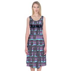Techno Fractal Wallpaper Midi Sleeveless Dress