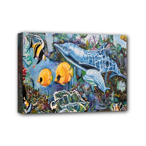 Colorful Aquatic Life Wall Mural Mini Canvas 7  x 5