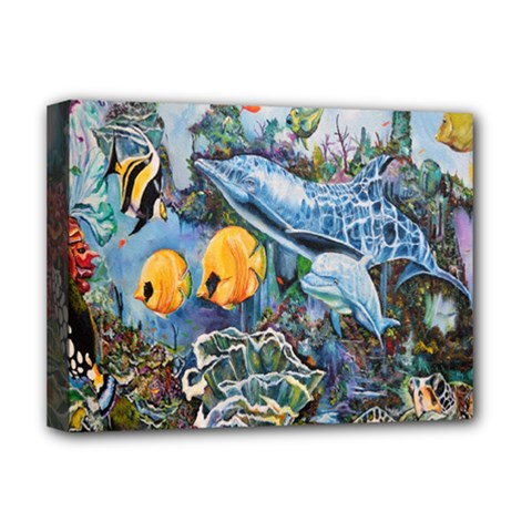 Colorful Aquatic Life Wall Mural Deluxe Canvas 16  x 12