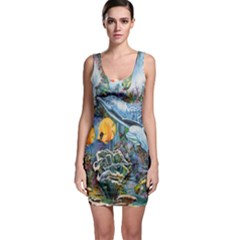 Colorful Aquatic Life Wall Mural Sleeveless Bodycon Dress
