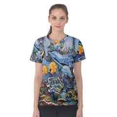 Colorful Aquatic Life Wall Mural Women s Cotton Tee