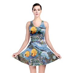Colorful Aquatic Life Wall Mural Reversible Skater Dress