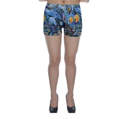 Colorful Aquatic Life Wall Mural Skinny Shorts