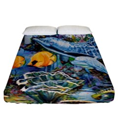 Colorful Aquatic Life Wall Mural Fitted Sheet (king Size)