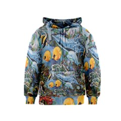 Colorful Aquatic Life Wall Mural Kids  Zipper Hoodie