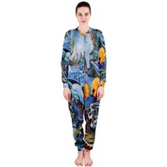 Colorful Aquatic Life Wall Mural OnePiece Jumpsuit (Ladies)