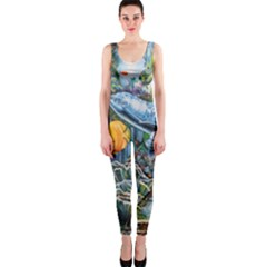 Colorful Aquatic Life Wall Mural Onepiece Catsuit