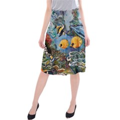Colorful Aquatic Life Wall Mural Midi Beach Skirt