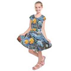 Colorful Aquatic Life Wall Mural Kids  Short Sleeve Dress
