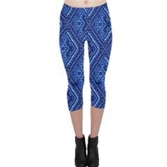 Blue Fractal Background Capri Leggings