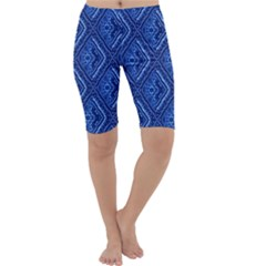 Blue Fractal Background Cropped Leggings