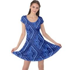 Blue Fractal Background Cap Sleeve Dresses