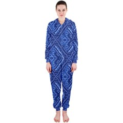Blue Fractal Background Hooded Jumpsuit (Ladies)