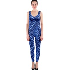 Blue Fractal Background OnePiece Catsuit