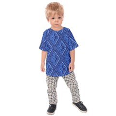 Blue Fractal Background Kids  Raglan Tee