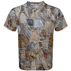Multi Color Stones Wall Texture Men s Cotton Tee