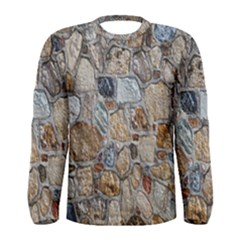 Multi Color Stones Wall Texture Men s Long Sleeve Tee