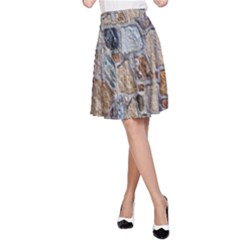 Multi Color Stones Wall Texture A-Line Skirt
