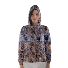 Multi Color Stones Wall Texture Hooded Wind Breaker (women)