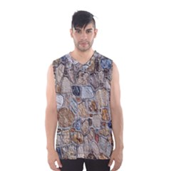 Multi Color Stones Wall Texture Men s Basketball Tank Top