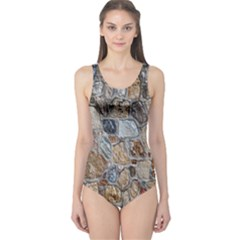Multi Color Stones Wall Texture One Piece Swimsuit