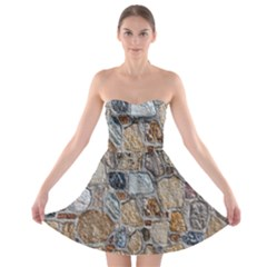 Multi Color Stones Wall Texture Strapless Bra Top Dress