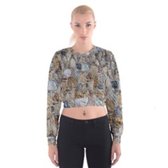 Multi Color Stones Wall Texture Women s Cropped Sweatshirt