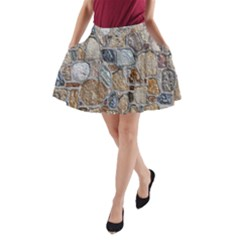 Multi Color Stones Wall Texture A-Line Pocket Skirt